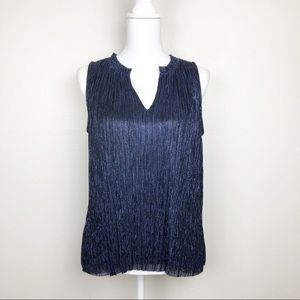 Vanessa Virginia Navy Iridescent Sleeveless Blouse